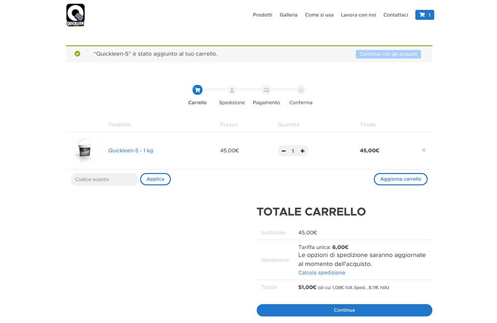 Aerislabs Design Sito E-Commerce per Quickleen Italia